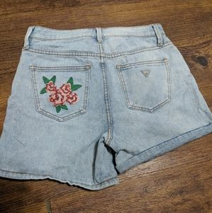 High waist Embroidered Guess Jean shorts